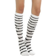 f3807f153 Blackheart White With Black Dripping Stripe Knee High Socks Hot Topic  ( 5.17) ❤ liked