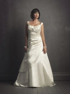 Plus Size Wedding Dresses | Queen Anne Plus Size Ivory Silky Satin Bridal Dress of Gathered Waist ...