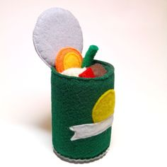 Soup Can with Interactive Opening Lid Meat and Vegetables