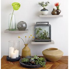stone resin wall shelf in wall mounted storage | CB2