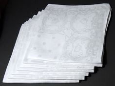 Victorian Damask Linen Napkins - Set  7 - 19 in - Lovely Poppies Scrolls &…