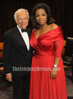 Oprah Winfrey Plus Size Red Formal Gown Lincoln Center Presents Dress