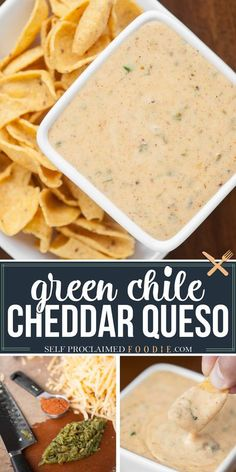 This spicy and creamy Green Chile Cheddar Queso made with real sharp cheddar cooks up in just minutes and is the perfect cheese sauce for nachos or tacos. #queso #cheese #sauce #greenchile #spicy #recipe #easy #nachos #dip