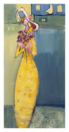 Stretched Canvas Print: Women Who Love Flowers I by Genevieve Pfeiffer : Flower Canvas, Flower Art, Art Commerce, Woman Drawing, Drawing Women, Stretched Canvas Prints, Love Flowers, Black Fabric, All Art
