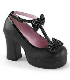 """Demonia Gothika black t-strap platform heels. Made with black vegan leather. Item Specifications: 3 3/4""""(9.5cm) Heel, 1"""" (2.5cm) Platform T-Strap w/Bows, Studs and Scalloped Detail, Buckled Ankle Stra"""