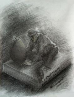 "M.O.Yakoumakis  ""The magnificent professor of Painting, ecstatically contemplating a pear""  (Detail study for the work ""Self-portrait with the committee of the Chamber of Visual Arts of Greece"" ).  Charcoal and dry pastel on paper, 50x70cm, 2006"