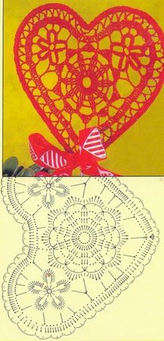 Crochet Heart - Chart // hf *ohhh how I love hearts. Form Crochet, Crochet Diagram, Crochet Chart, Thread Crochet, Crochet Motif, Irish Crochet, Diy Crochet, Crochet Flowers, Crochet Stitches Patterns