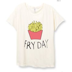 Womens Boho Fryday Friday Modern Shirt Trendy Tumblr Shirt Tee Top... (665 CZK) ❤ liked on Polyvore featuring tops, t-shirts, french fries, retro shirts, white shirt, tee-shirt, short sleeve shirts and boho shirts