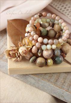 """Купить Браслеты """"Акварель"""" - браслет, крупный браслет, набор браслетов, комплект браслетов, весенний браслет"""