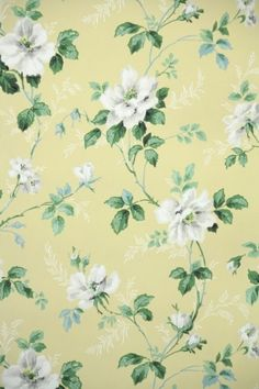 Vintage Wallpaper yellow and white floral