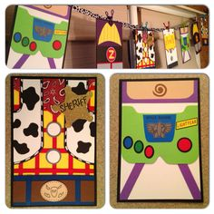 Toy Story birthday banner I made with close ups of the two favorite character pendants: Sheriff Woody and Buzz Lightyear :) Check out my other kids' party decorations at White Paper Parties on FB and Etsy and message for requests :)