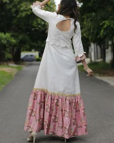 White and pink long dress by Mint Mauve Cotton Long Dress, Long Gown Dress, Cotton Dresses, Kurti Neck Designs, Dress Neck Designs, Stylish Dresses, Simple Dresses, Summer Dresses, Indian Long Dress