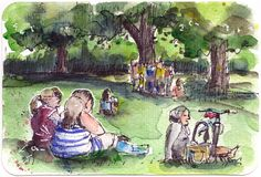 Watercolour postcard - warm spring day in the park by Sophie Peanut Watercolor Postcard, Watercolor Video, Pen And Watercolor, Sketches Of People, Drawing People, Girly Drawings, Easy Drawings, Learn To Sketch, Landscape Sketch