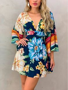 Multicolor V Neck Bell Sleeve Floral Short Dress The gorgeous floral pattern goes throughout Tokyo Street Fashion, Grunge Style, Soft Grunge, Boho Fashion, Fashion Outfits, Womens Fashion, Casual Dresses, Short Dresses, Le Happy