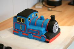 Thomas the tank engine cake. Page has instructions on how it was made.