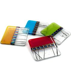 Fused glass coasters, set of 4 from Terrestra