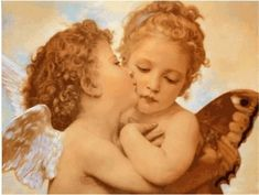 "kissing angels...........this painting is called "" The First Kiss"" and they are cherubs not angels! And it also makes a great tattoo (if I do say so myself!)"
