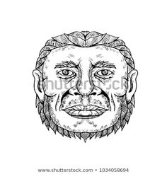 Neanderthal Male Head Doodle Art by patrimonio on Doodle art illustration of head of male Neanderthal ,Neandertal or Homo neanderthalensis, an archaic human that became extinct front view in black and white done in mandala style. Monster Eyes, Doodle Art Journals, Face Art, Art Faces, Mandala Design, Pattern Art, Illustration Art, Retro Illustrations, Digital Art