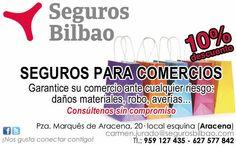 Seguros para comercios ¡con un 10% de descuento! Seguros Bilbao SEGUROS PARA COMERCIOS Garantice su comercio ante cualquier riesgo: daños materiales, robos, averías... Consúltenos sin compromiso ¡¡¡Y AHORA, CON UN 10% DE DESCUENTO!!! __________________ SEGUROS BILBAO FACEBOOK: https://www.facebook.com/segurosbilbaoaracena Tfnos. 627 577 842 - 959 127 435 Carmen Jurado Corpas carmen.jurado@segurosbilbao.com FICHA portalaracena.com…