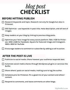 FREE Blog Post Checklist Printable