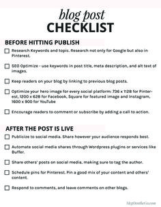 FREE Blog Post Checklist Printable