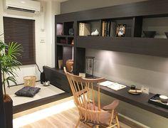 書斎コーディネート|デスクをつなげることで奥の畳コーナーとのつながりを。