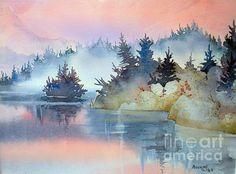 Mist at Sunrise. watercolor, 8 x 10
