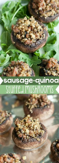 Garlic, Quinoa, and Sausage Stuffed Mushrooms :: This delicious party appetizer is wildly addictive and gloriously gluten-free too! Betcha can't eat just one!