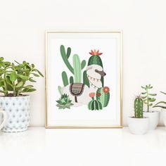 Alpaka Kindergarten druckbare Kaktus von MossAndTwigPrints auf Etsy