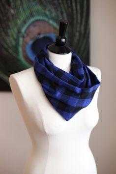 Infinity Scarf  Flannel  Blue & Black by AmandaJeanCreations