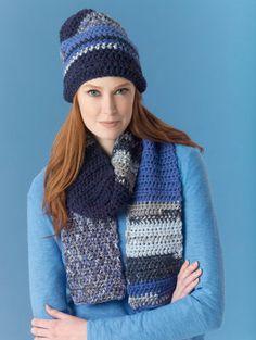 Lion's Pride® Woolspun® Crochet Scarf & Hat Ocean (Level 2 - Easy)