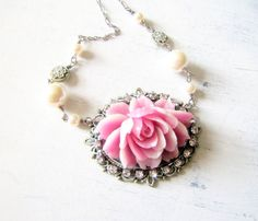 Cabbage Rose Necklace with some bling