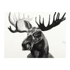 Black and White Watercolor Moose Canvas Art Print | Kirklands