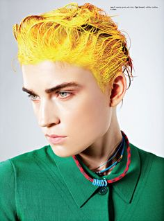 Lead Head – Herring & Herring use hair as a paintbrush for their latest beauty story featured in Kurv Magazine. Starring Jana Knauerova, Olivia Gordon and Masha… Editorial Hair, Editorial Fashion, Yellow Hair, Mellow Yellow, Bright Yellow, Color Yellow, Hair Painting, Colorful Fashion, Colorful Hair