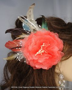 Coral Organza Double Hibiscus Flower Feather by RoyalEXander, $41.45