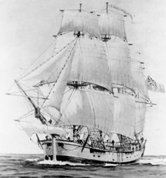 Endeavour, the ship used by Captain James Cook during his great voyage of exploration of 1768- 1771.