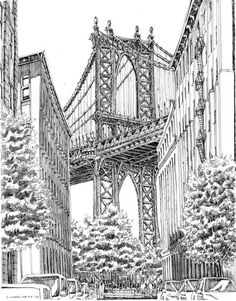 Of new york city sketches life nyc - drawing techniques. Nyc Drawing, Town Drawing, Bridge Drawing, New York Drawing, Drawing Faces, New York City, Medieval Drawings, Gravure Illustration, City Sketch