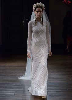 Naeem Khan Fall 2016 long sleeve sheath dress with sequined embellishment | https://www.theknot.com/content/naeem-khan-wedding-dresses-bridal-fashion-week-fall-2016