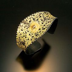 Chris Nelson Iron highly textuxed by hand and fused with gold. Rosecut diamond set in gold. Gold Jewellery Design, Jewellery Display, Gold Jewelry, Fine Jewelry, Jewelry Making, Designer Jewelry, Copper Bracelet, Gemstone Bracelets, Silver Bracelets