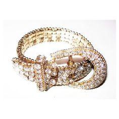 Rhinestone Wedding Bracelet Belt Buckle Style High End Silver Metal... ($35) via Polyvore featuring jewelry, bracelets, rhinestone jewelry, vintage jewelry, vintage jewellery, vintage rhinestone jewelry and vintage bangle