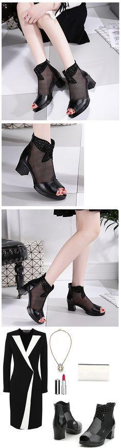US$29.25  Mesh Beaded Peep Toe Chunky Heel Ankle Zipper Black Boots