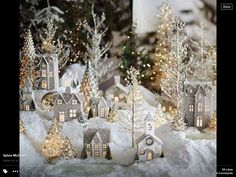 Around the Watts House: Pottery Barn Inspired Christmas Village. I always wanted a Christmas village! Noel Christmas, Little Christmas, White Christmas, Christmas Crafts, Christmas Glitter, Elegant Christmas, Pottery Barn Christmas, Outdoor Christmas, Vintage Christmas