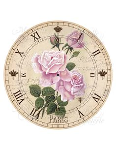 Shabby Chic Printable Clock-DIY Pink Victorian Roses Clock Face Clock Face Printable, Printable Art, Victorian Clocks, Rose Clock, Vintage French Posters, Tole Painting Patterns, Shabby Chic Crafts, Diy Clock, Decoupage Paper