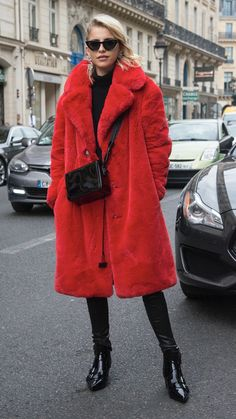Red jacket, sunglasses, cold weather outfit, red and black style