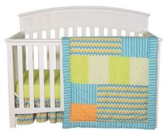 Vibrant chevron zigzags add the perfect amount of style and radiance to your baby's nursery. The Levi Crib Bedding Collection brilliantly combines trend-right chevron with patches of variegated stripes, mini dots, lattice and geometric circles in an adorable color palette of nautical blue, tiger orange, blue raspberry, chartreuse green and white. The bold patterns and colors add a charming twist to your little baby's nursery.