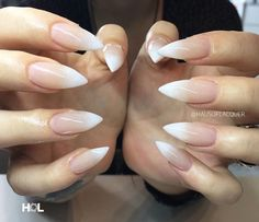 pointed nude ombre nails