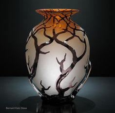 Hand blown art glass vessel, Sunset Salmon Bellied Root by Bernard Katz