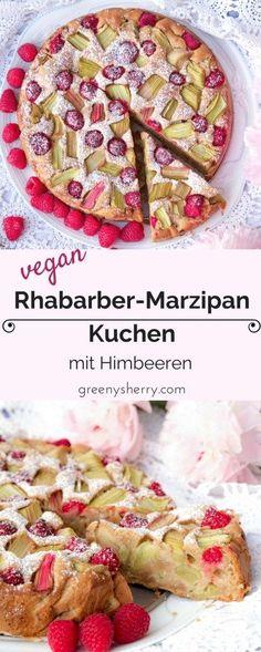 Vegan rhubarb-raspberry-marzipan cake like grandmother& - greeny sherry - vegan recipes & live green vegan food & life - Vegan rhubarb-marzipan-raspberry cake – tastes like grandmother❤️. Sweet-sour and fluffy-easy - Desserts Végétaliens, Health Desserts, Law Carb, Marzipan Cake, Rhubarb Cake, Raspberry Cake, Raspberry Rhubarb, Sweet Bakery, Rhubarb Recipes