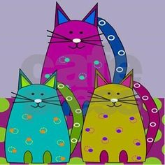 Whimsical cats in bold and bright colors on bathmats, area rugs and more. Fun home decor for any cat lover. I Love Cats, Crazy Cats, Cool Cats, Cat Shower Curtain, Shower Curtains, Shower Rod, Wal Art, Cat Colors, Bright Colors
