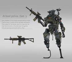 ArtStation - armed police li, Allen Zhou Cyberpunk Rpg, Cyberpunk Character, Robot Concept Art, Armor Concept, Game Concept, Character Concept, Character Art, Military Robot, Futuristic Robot